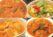 Variety of curry dish