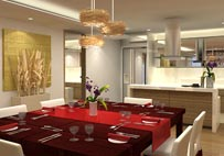 Wide dining area